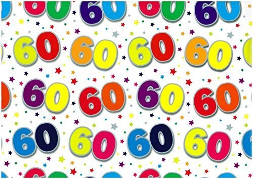 Gift Wrap Birthday 60th Today Deluxe Wrapping Paper - 2 Sheets & 1 Matching Tag