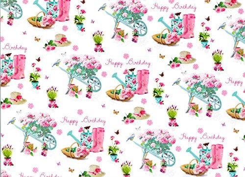 Gift Wrap Birthday Gardening Wrapping Paper - Two Sheets & 1 Tag