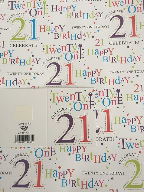 Gift Wrap Birthday 21st Today Wrapping Paper - 2 Sheets & Matching Tag