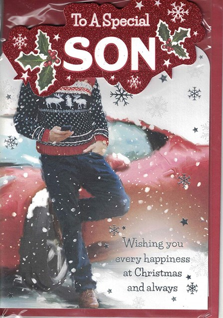 Christmas Son Card - Christmas Jumper & Car
