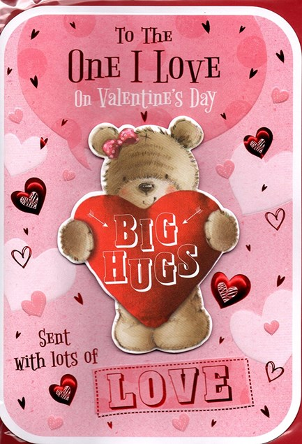 Valentines Day One I Love Card – Bear & Heart