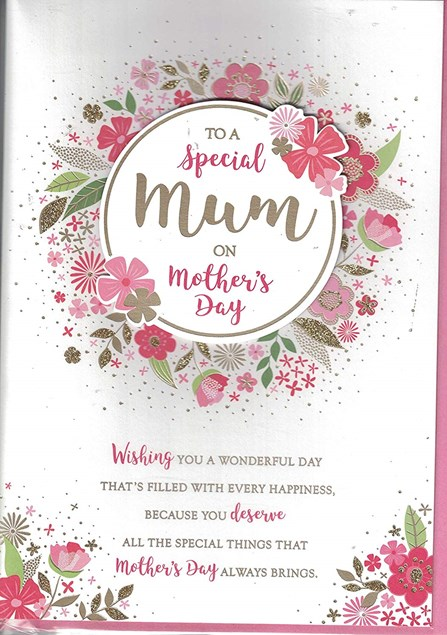 Mother's Day Card - Circle 3D Embellishment Surrounded By Illustrated Flowers