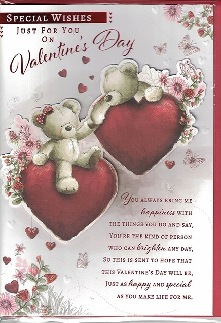 Valentines Day Card – Bear Couple & Hearts