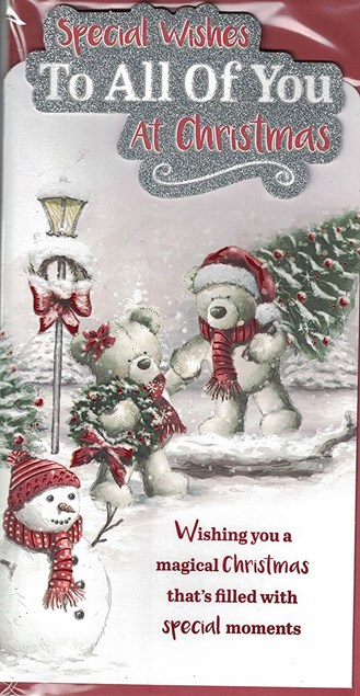Christmas To All Of You At Christmas Card - Two Bears and a Snowman Outdoors!