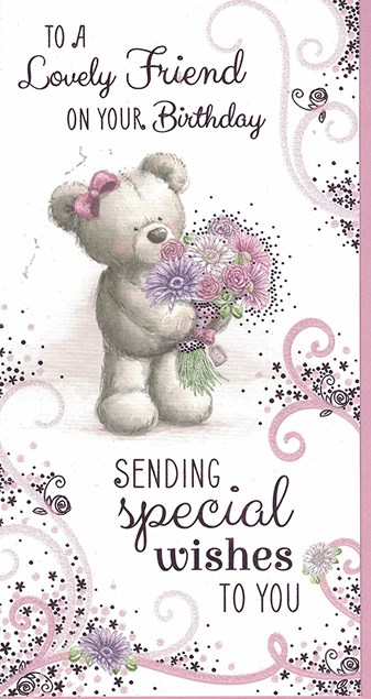 Birthday Friend Card - Bear With A Bouquet Of Flowers