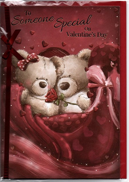 Valentines Day Someone Special Card – Bear Couple & Rose