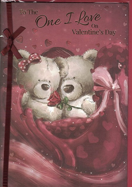Valentine's Day One I Love Card – Bear Couple & Rose