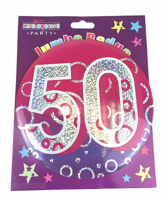 Party Badge 50 Birthday '50 Today' Large Badge - Pink  Holographic