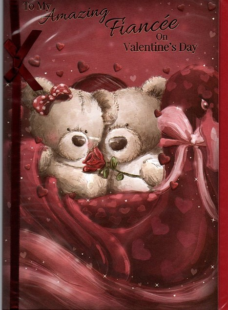 Valentines Day Girlfriend Card – Bear Couple & Rose