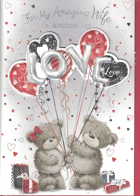 Valentines Day Wife Card – Bear Couple & Balloons