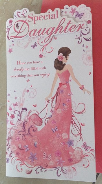 Birthday Daughter Card - Pink Dress & Butterflies