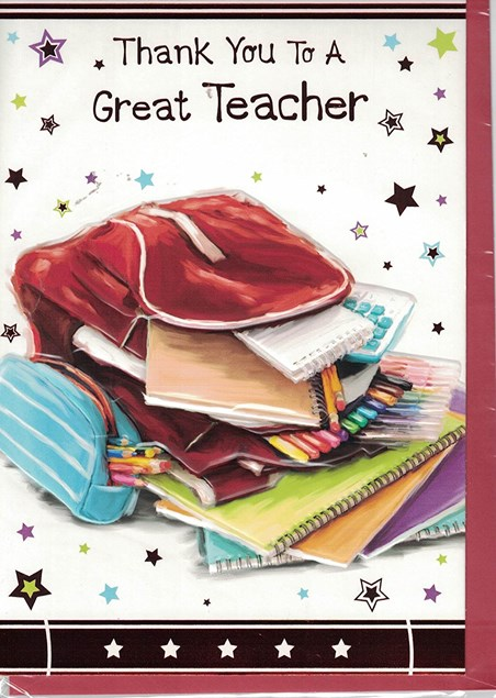 Thank You Teacher Card - Bag Full Of Stationary