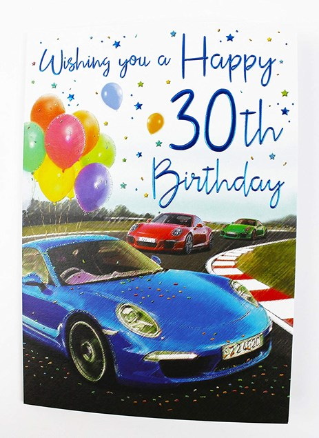 Birthday Age 30 Card - Blue, Red And Green Cars On A Racetrack!