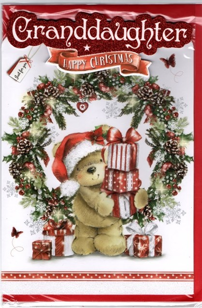 Christmas Granddaughter Card - Cute Bear With Presents and Snowflakes