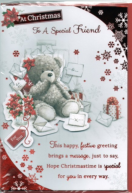 Christmas Special Friend Card - Cute Bear & Letters