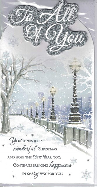 Christmas To All Of You Card - A Snowy City Scene With A Lovely Verse