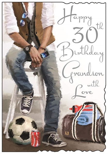 Birthday Grandson Age 30 Card - Happy Birthday Grandson With Love