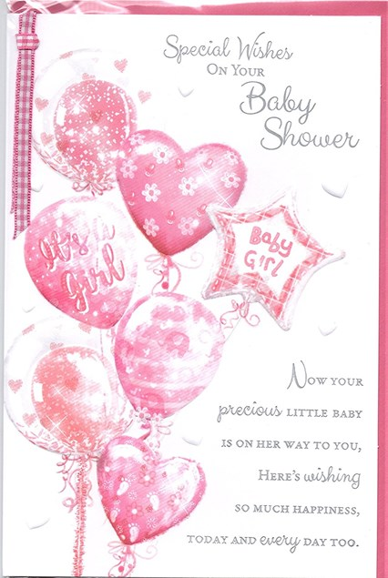 Baby Shower Baby Girl Card - Bouquet Of Pink Balloons