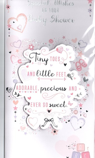Baby Shower Baby Girl Large Card - Hearts & Shoes