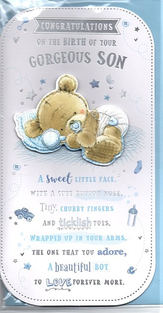 Birth Of Your Son Card - Baby Bear & Stars
