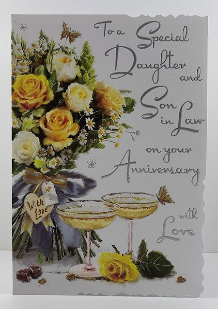 Anniversary Daughter And Son-In-Law Card - Illustration Of A Bouquet Of Flowers