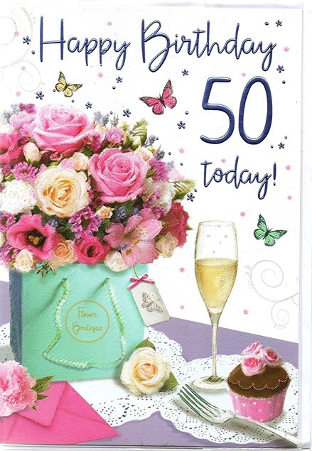 Birthday Age 50th Card - Flower Bouquet & Champagne