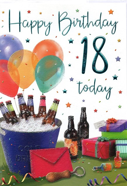 Birthday Age 18th Male Card  - Beer & Balloons
