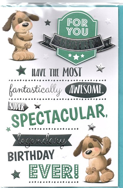 Birthday Brother Card - Puppies & Stars