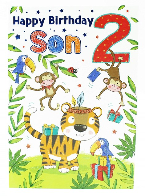 Birthday Son's 2nd Card - Jungle Theme Featuring an Illustrated Tiger