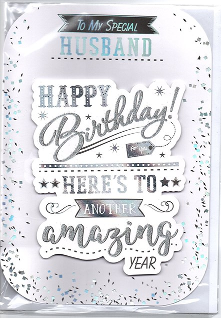 Birthday Husband Card - Silver Stars