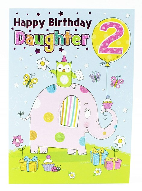 Birthday Daughter's 2nd Card - Featuring A Cute Elephant!