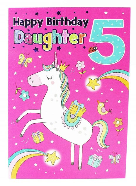 Birthday Age 5 Daughter Card - A Cute Unicorn Surrounded By Shooting Stars!