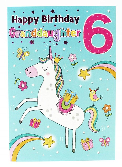 Birthday Granddaughter 6th Card - With an Adorable Unicorn