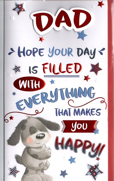 Fathers Day Card - Cute Puppy & Stars