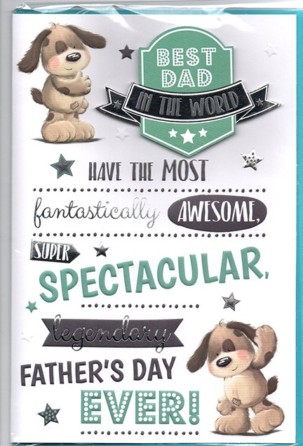 Fathers Day Best Dad Card - Puppies
