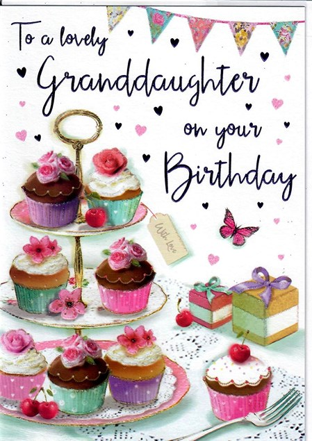 Birthday Granddaughter Card - Cupcake Stand