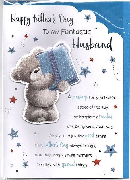 Fathers Day To My Fantastic Husband Card - Bear & Gift