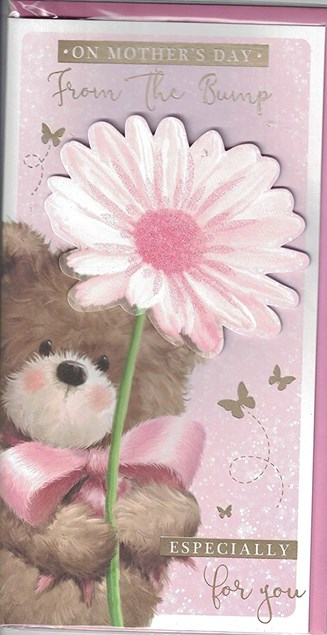 Mother's Day From The Bump Card - With A Cute Bear Wearing A Pink Bow