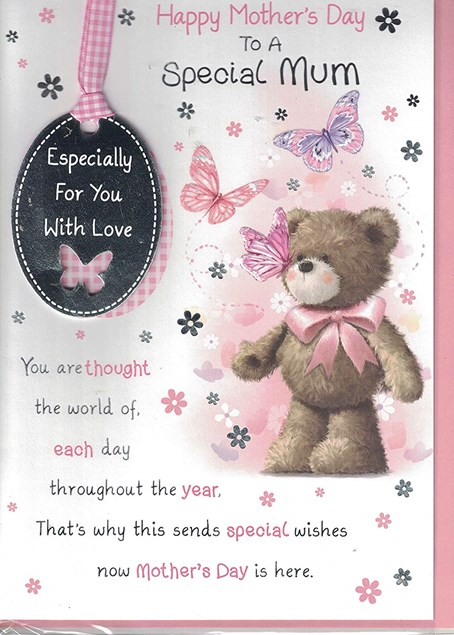 Mother's Day Card - 3D Tag Embellishment Next To A Cute Bear