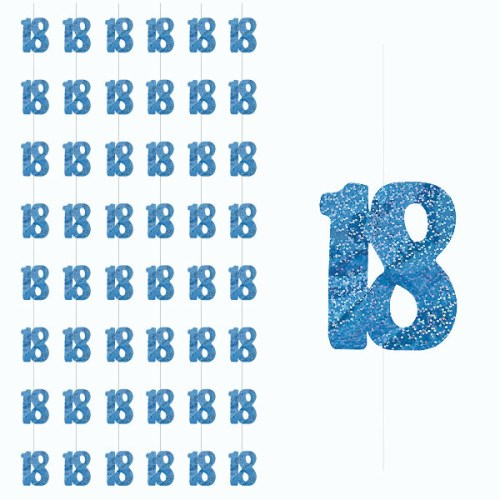 Blue Glitz 18th Birthday Hanging Decoration Pack of 6 Strings