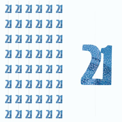 Blue Glitz 21st Birthday Hanging Decoration - Pack of 6 Strings