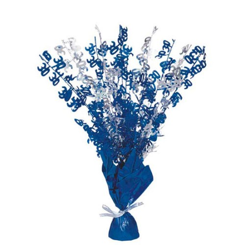 Blue Glitz 30th Balloon Weight Centrepiece