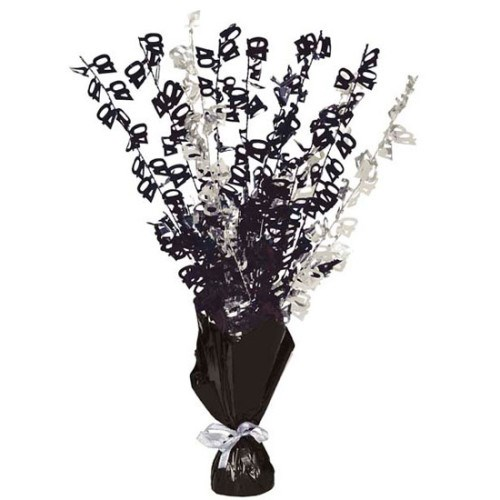 Black Glitz 40th Balloon Weight Centrepiece