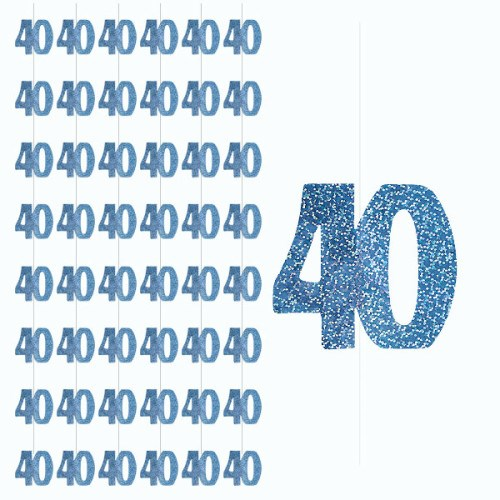 Blue Glitz 40th Birthday Hanging Decoration - Pack of 6 Strings