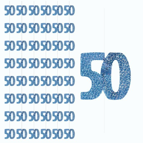 Blue Glitz 50th Birthday Hanging Decoration - Pack of 6 Strings