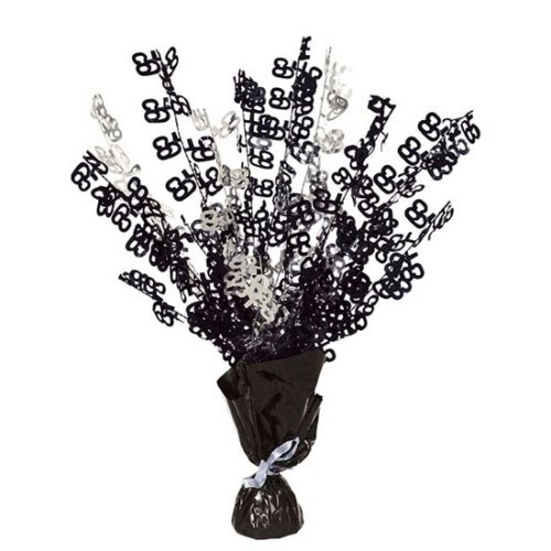 Black Glitz 65th Balloon Weight Centrepiece