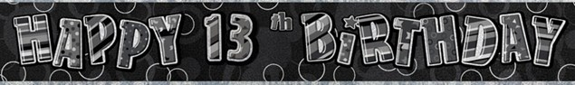 Birthday Black Glitz 13th Birthday Banner