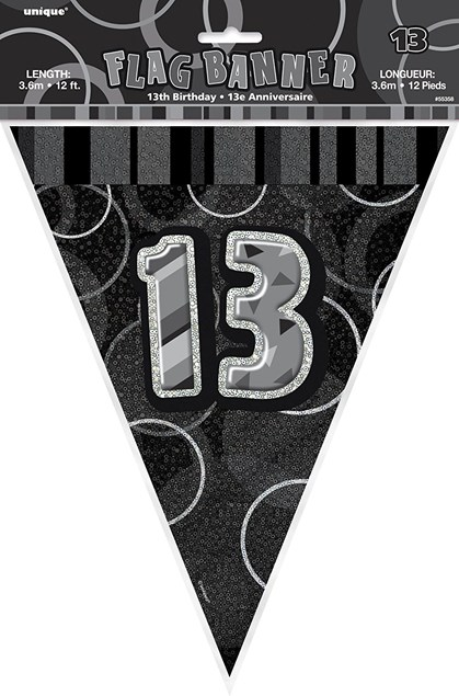 Birthday Black Glitz 13th Bunting – 12 Ft / 3.65m