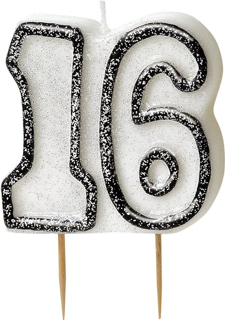 Black Glitz Theme Number Candle – Number 16
