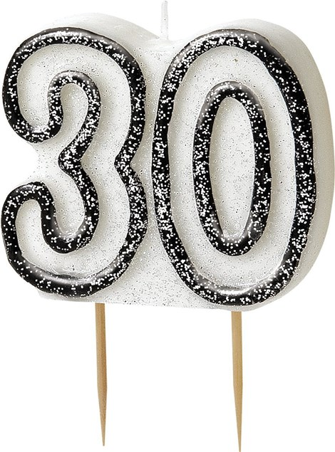 Black Glitz Theme Number Candle – Number 30